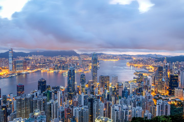 The Hong Kong skyline at the Victoria Peak viewpoint.