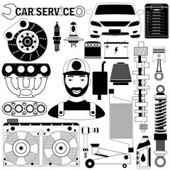car part and mechanic icons