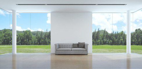 Wall Mural - green garden view living room interior in modern house - 3D rendering