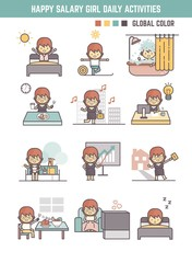 happy salary girl daily life routine cartoon character