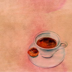 Watercolour drawing of cup of coffee on old paper texture