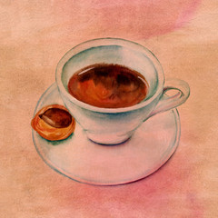 Cup of coffee with chocolate cookie on old paper background