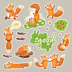 Collection of stickers with cute cartoon foxes