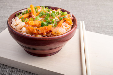 Closeup Asian food of rice noodles and vegetable sauce
