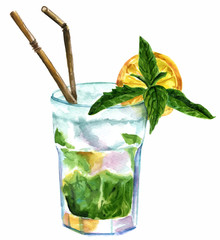 Vector watercolor drawing of mojito cocktail on white