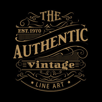 Vintage label western hand drawn antique frame typography vector