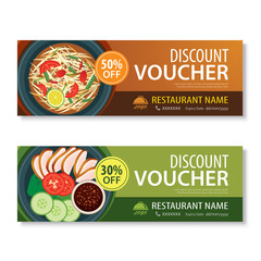 discount voucher template with thai food flat design