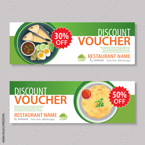 Discount Voucher Template With Thai Food Flat Design Stock Image