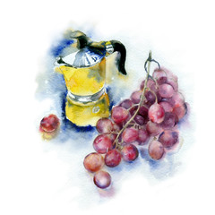Watercolor painting. Coffee-maker and grapes on a white background.
