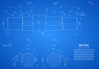 blueprint of shaft, project technical drawing on the blue background. stock vector illustration eps10