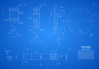 blueprint of gears and shaft, project technical drawing on the blue background. stock vector illustration eps10