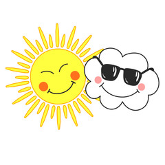 Cute vector illustration with smiling cartoon cloud and sun on white background. Card for kids.