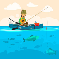 Fisherman on a boat vector illustration. Man fishing at river, a lot of fish in water and clouds in sky