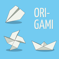Origami objects. White on blue background. Plane, pinwheel and boat. Folded paper