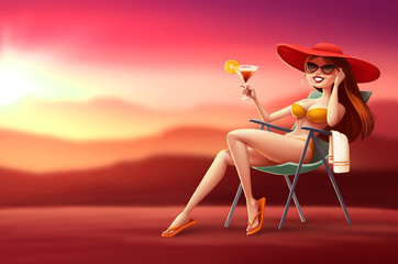 Illustration girl in lounge chair