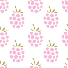 Pink raspberry on the white background. Vector seamless pattern with sweet summer garden berry.