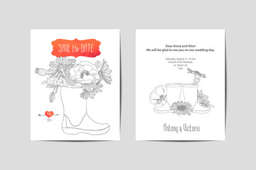 Wedding invitation. Linear flowers in rubber boots