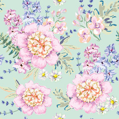 Romantic bouquets on the mint background. Vector seamless pattern with delicate flowers. Peony, delphinium, daisy, gillyflower. Pastel pink, serenity colors.