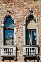 Detail of facade of traditional old Venetian house. Italy.