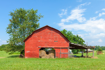 Traditional American Red Barn With Blue Sky near Landrum, South Carolina