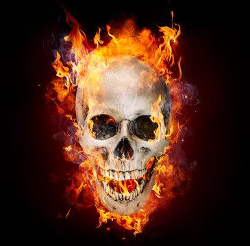 Satanic Skull In Flames In The Darkness