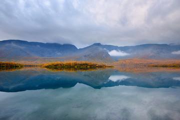 Autumn color at Maliy Vudjavr Lake, Khibiny mountains, Kola Peninsula, Russia