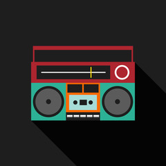 Retro vintage boombox radio flat design vector illustration