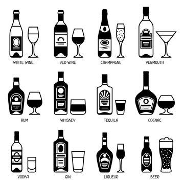 Alcohol drinks icon set. Bottles, glasses for restaurants and bars