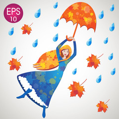 Vector girl flying with umbrella, leaves and water drops. Dorothy Oz