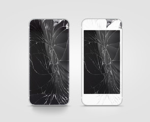 Broken mobile phone screen, black, white, clipping path. Smartphone monitor damage mock up. Cellphone crash and scratch. Telephone display glass hit. Device destroy problem. Smash gadget, need repair.