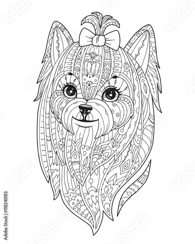 Zentangle stylized Dog. Vector hand drawn pom. Pomeranian spitz ...