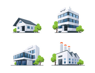 Set of Four Buildings Types Illustration with Trees