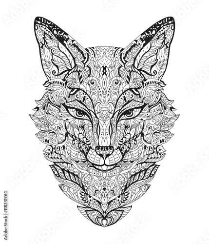 Zen art fox zentangle animal head for the adult antistress coloring book on white background