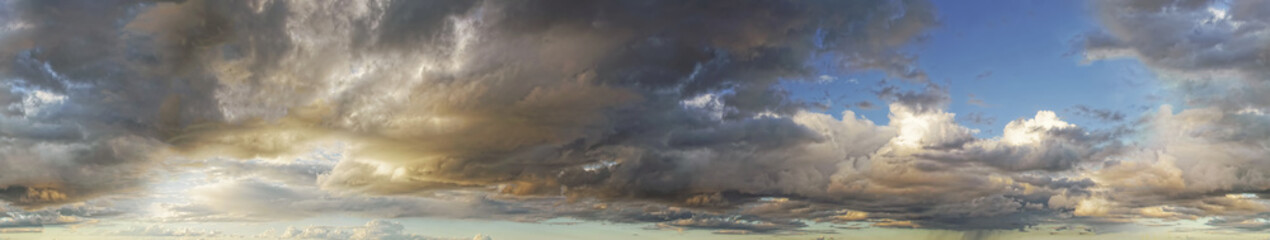 Seamless sky wide panorama with sunset and clouds. Horizontal cloudscape photography. 360 degrees.