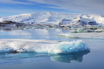 Icebergs in Jokulsarlon glacier lake in Iceland in winter