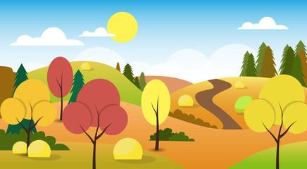 Poster Groene koraal Autumn Landscape Forest Road Blue Cloud Sky Tree