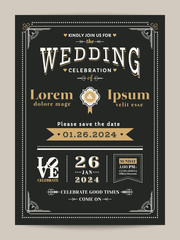 Vintage wedding invitation card with black and gold color