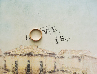 Card with an inscription - love.  is.
