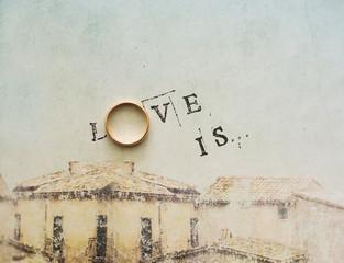 Card with an inscription - love.  is.