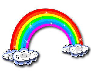 The image of the rainbow with clouds