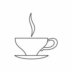 Cup of tea icon in outline style isolated on white background. Drink symbol vector illustration