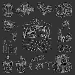 Wine and wine making set vector illustrations hand drawn doodle, vineyard , bottles, glasses, grapes, barrels, cellar. Wine design elements on chalkboard.