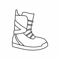 Boot for snowboarding icon in outline style isolated on white background. Shoes symbol vector illustration