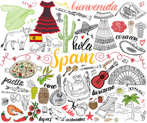 Spain hand drawn sketch set vector illustration