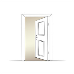 open door. Isolated illustration of a door. Vector
