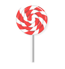 Swirl lollipop candy. Red and white lolly sweets. Isolated illustration. Vector