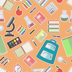 Seamless pattern of school supplies in a flat style.