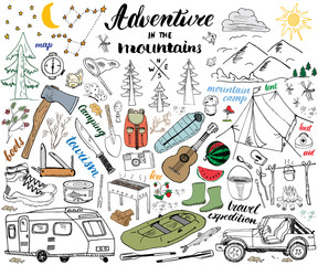 Camping, Hiking Hand Drawn sketch set vector illustration.
