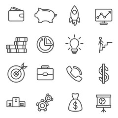 Business icons thin line set