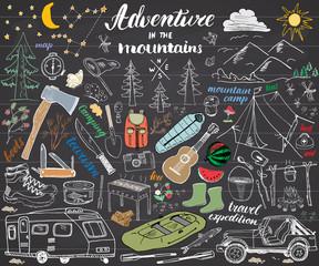 Camping, Hiking Hand Drawn sketch set vector illustration on chalkboard